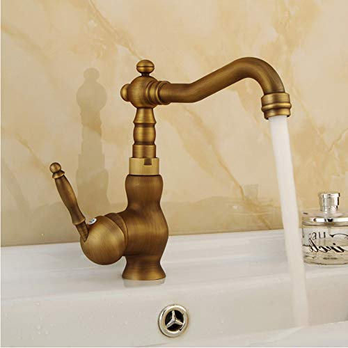 LLLYZZ Retro Wiredrawing Brass Bathroom Kitchen Faucets Single Holder Single Rotating Deck Mount Faucet Hot&Cold Water Mixer Tap -