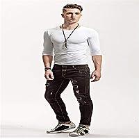 zxc Top Hombres Camiseta De Manga Larga Ajustada,Cuello Redondo Blanco,M