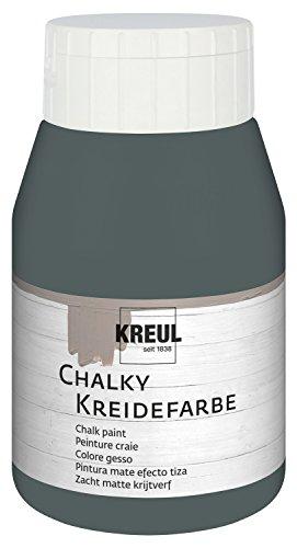 Kreul 75122 - Chalky Kreidefarbe, sanft - matte Farbe, cremig deckend, schnelltrocknend, für Effekte im Used Look, 500 ml Kunststoffflasche, Volcanic Gray