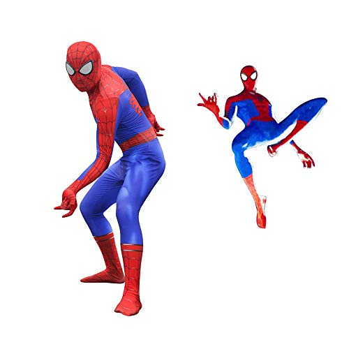 DFRTYE Erwachsene Spider-Man Kostüm Halloween Cosplay Superheld Verkleidung Kostüm Mask 3D Print Spandex Spiderman Body,Blueseparation-XL