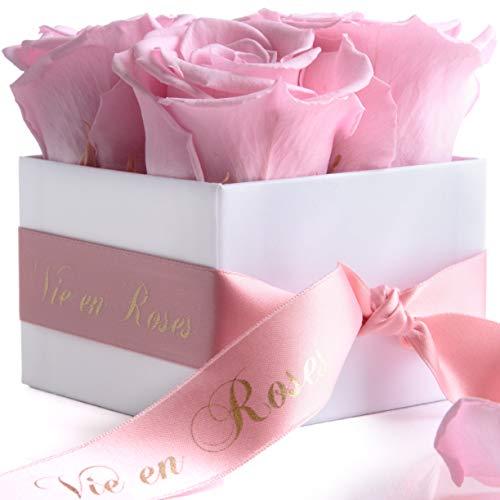 ROSEMARIE SCHULZ Heidelberg Ewige Rosen 4 Stück - Rosen haltbar 3 Jahre - Blumenbox in Weiß mit Satinband in Rosa und Goldschrift