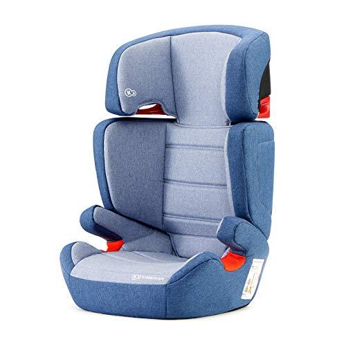 Kinderkraft Silla de coche Junior Fix con Isofix para niño bebe grupo 2/3 (15-36 kg) hasta 12 años respaldo desmontable 7 posiciones del Reposacabezas Normativa ECE R44/4 Azul marino