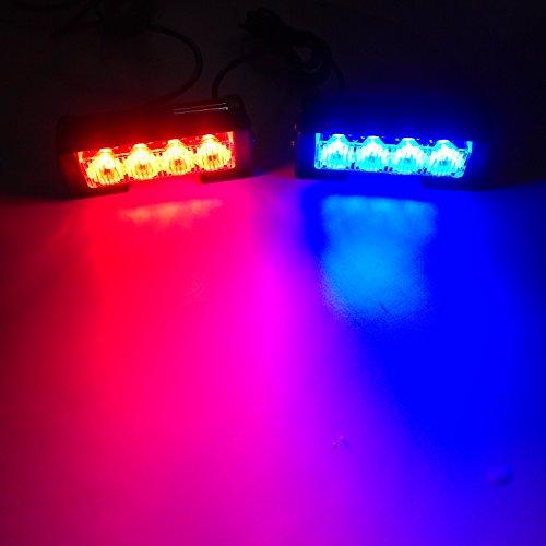 Preisvergleich Produktbild Linchview 2 x 4 LED 24 Watt 12V Auto Warnleuchten Strobe Blitzlicht Blinkend Licht Cargo Truck Strobe Leuchten mit Schalterkabel und Montagewinkel 7 Blitzmuster (1 Paar LED Licht) (Rot-Blau)