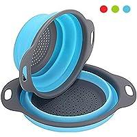 Colador de cocina plegable, 2 piezas de filtro de silicona para verduras o frutas Incluye 2 tamaños 8 y 9,5 pulgadas de cesta de filtro Por OYSHOPP (Azul)