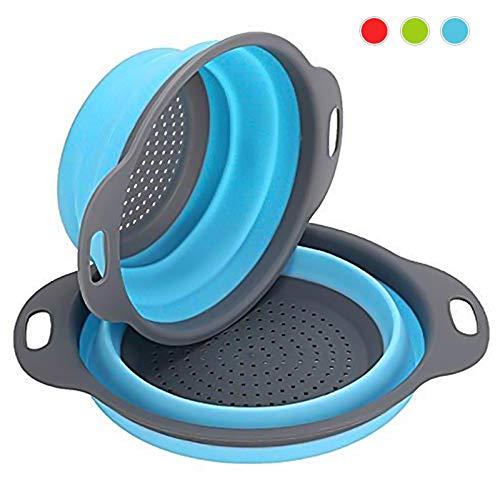 Virklyee Sieb Klappbar 2 Stück Faltbare Abtropfsieb Stück Silikon Sieb Faltbare Seiher Küche Ordnung Nudelsieb (Blau)