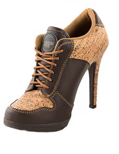 Sport High Heels Wood Feeling Brown Elegant wie ein High Heel - Bequem wie ein Sneakerschuh, Größe EU:42, Farbe:Braun (Kork Heels)