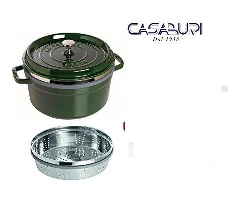 Staub cocotte Vert ronde cm 26avec panier vapeur