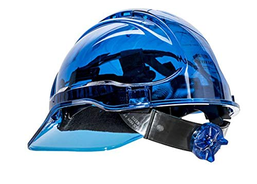 Portwest Pv64blu Série Pv64 Peak View à cliquet Translucide Hard Hat casque, Regular, Bleu