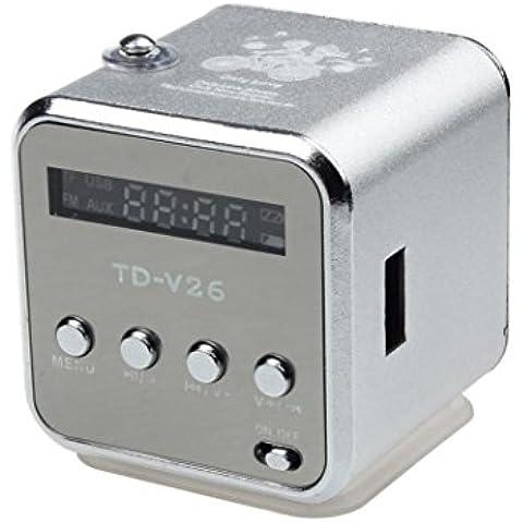 Transer® Amplificador HiFi Speaker MP3 Player Micro SD TF tarjeta Disco USB altavoz con radio FM (Plata)