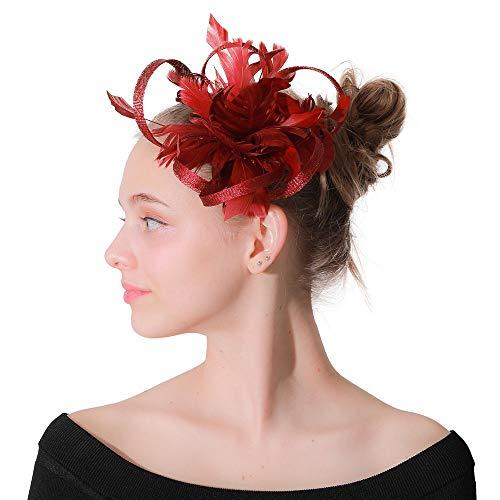 Kostüm Moulin Rouge Edel - Kuingbhn Fascinator-Hut Feder Blume Kopfschmuck Hochzeit Fascinator Corsage Haarspange Für Damen Tee Party Stirnband Hochzeit Ballzubehör (Color : Red, Size : Free Size)