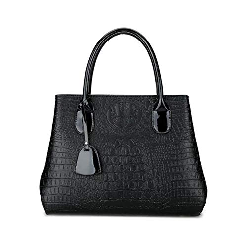 Lcjtaifu Damentasche Crocodile Lady Handtasche Big Handbag Shop Damen Vegan Kunstleder Multi Pockets Top Griff Golden Trim Satchel Handtasche - Large (Color : Schwarz, Size : M) -