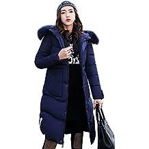 Mujeres invierno Parka caliente largo cuello de piel de abrigo con capucha chaqueta Azul M