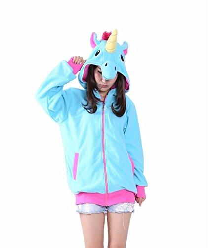 Erwachsene Männer Damen unisex Blau Große Heck Einhorn Pegasus Anime Cosplay Kostüm Exotische Neuheit Hoodies Zipper Sportbekleidung Lässige Sportbekleidung Kapuzenpullover Trainingsanzüge Bekleidung