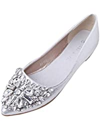 OHQ Ballerine Eleganti Donna Women s Ballerinas Women s Pointed Toe Ladise  Shoes Casual Rhinestone Low Heel Flat a93bfd3abaf