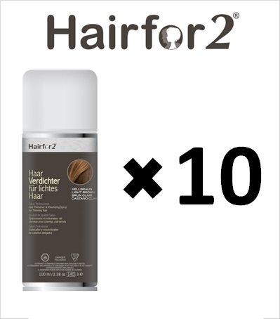 Vorratsangebot! 10 x Hairfor2 Haarverdichtungsspray 100ml (Hellbraun)