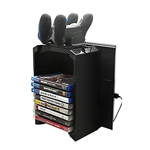 Docooler Multifunktional Ständer-Kit GAMES TOWER + LADESTATION für PlayStation 4 PS4 mit Dual Controller Ladestation(12 Games Discs Halten Kann ) (Spielen Von Ps4-spielen)