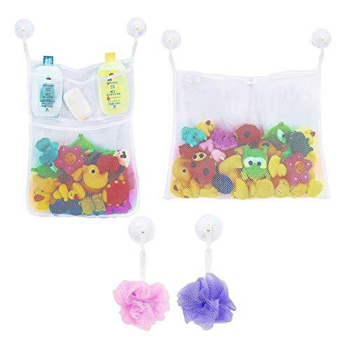 LEF Perfektes großes Bad Spielzeug Netz für Badewanne Spielzeugnetz & Badezimmer Lagerung mit 6 Ultra Strong Hooked Saugnäpfe 2 x Mesh Bad Spielzeug Organizer - Multi-Use-Dusche Taschen machen