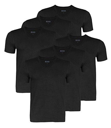 HUGO BOSS Herren T-Shirts Business Shirts V-Neck 50325389 6er Pack Schwarz (Black 1)