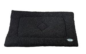 Tapis en sherpa lavable pour cage de chien ou chat de Gor Pets, 61x 91cm, noir