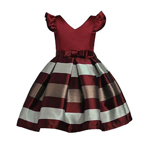 LCLrute Gefrorene Kinder Mädchen Kleider Kostüm Mädchen Kleidung Bowknot Hochzeit Brautjungfer Pageant Prinzessin Kleid (Wein, ()