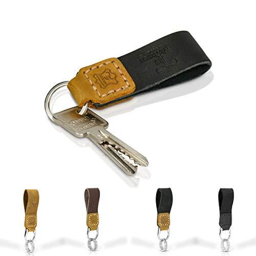 Tumatsch-Leder Fair-Trade Schlüsselanhänger aus Echt-Leder in Handarbeit Hergestellt. Schlüssel-Band Chiang Mai in Schwarz & Braun