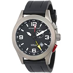 Momentum Vortech GMT Men's Quartz Watch with Black Dial Analogue Display and Black Rubber Strap 1M-SP58B1B