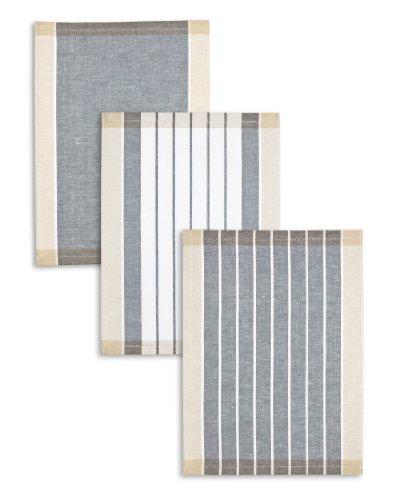 3-er Pack Jacquard Geschirrtuch, Halbleinen, TRIOLINO®, Streifen sortiert, anthrazit-schwarz-beige, 50x70cm