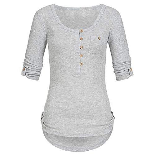 iYmitz Damen Solide Langarm Knopf Bluse Pullover Tops Shirt Mit Taschen(Grau,EU-38/CN-S)