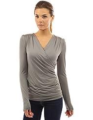PattyBoutik Mujer abrigo de imitación de manga larga blusa de jersey