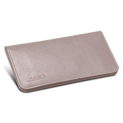 FLOVEME Universal Geldbörsen Brieftasche Handyhülle aus Echt Leder Premium Book Wallet 2 in 1 Schutzhülle Folio Cover mit Karte Slots 5.5 Zoll Grau