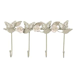 Salco 4-Piece Butterfly and Rose Wall Hook