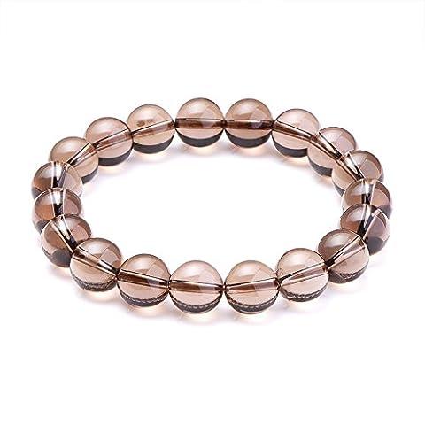 SUNNYCLUE Bracelet extensible en pierres précieuses naturelles cristal quartz 10mm Perles rondes environ 7