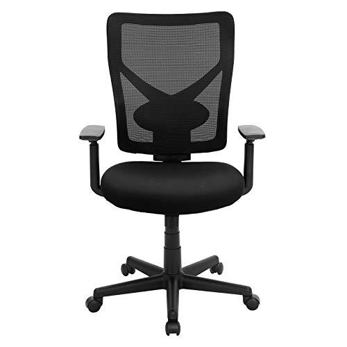 SONGMICS Bürostuhl, ergonomischer Schreibtischstuhl mit Verstellbarer Lendenstütze und Armlehnen, Höhenverstellbar und Wippenfunktion, Netzrücken, Schwarz OBN36BK