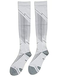 Nike Elite Run HYP LTWT Comp - Calcetines unisex, color blanco/gris, talla