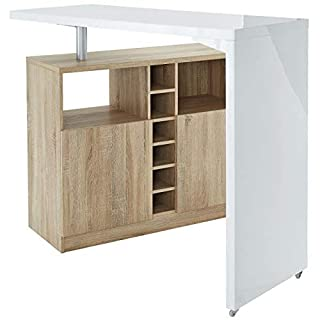 Générique Poly Table Bar Style Contemporain Blanc laqué Brillant et décor Chene - l 126 x l 52 cm