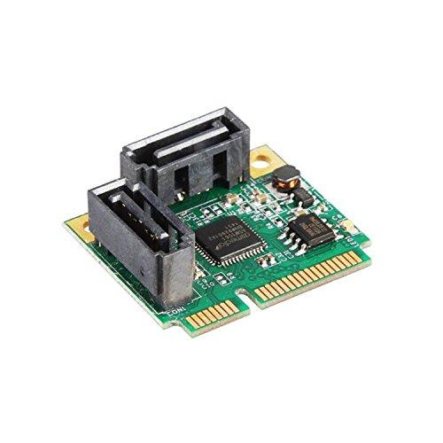Nm10 Mini (2 Ports SATA 6G mini PCI Express Controller Card mini PCI-e to SATA III 3.0 converter half-size to full-size bracket SATA3.0)