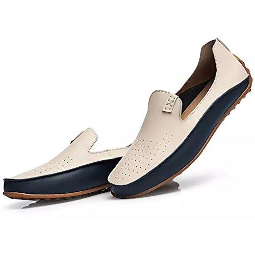 Herren Leder Loafers Fahren Schuhe Schuhe Flache Mokassins Beige