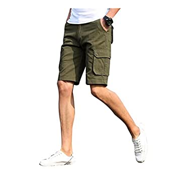 Sunshey Cotton Casual Mens Twill Cargo Shorts Summer Fashion Sports Beach Travel Pockets Camouflage Shorts (29, Army Green)