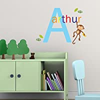 V&C Designs Ltd (TM MULTI COLOUR Personalised Name with Initial Jungle Cheeky Monkey Children