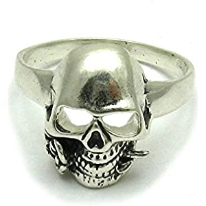 Sterling silber 925 Ring Totenkopf mit Rose Empress Größe 49 - 75