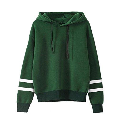 Frauen Langarm Kapuzenpullis, Kingwo Damen Hoodies Langarm Kapuzenpulli Sweatshirt Pullover Tops Bluse Stickerei Kapuzen Sweatshirt (XL, Grün)