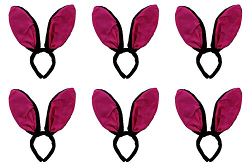 Zac s Alter Ego   Pack of 6 Black Bunny Headband with Large Fuchsia Pink Ears
