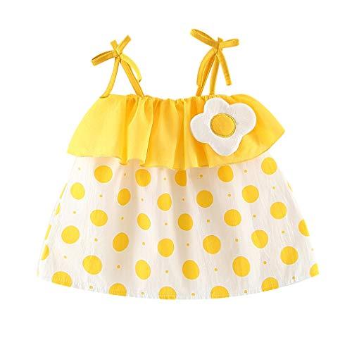Livoral Mädchen Punkt gekräuselten Kleid Kleinkind Baby Kind Gurt Print Kleid Prinzessin Kleidung(Gelb,90) - Gelber Stufenrock