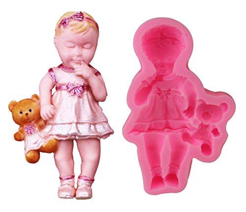 Inception pro infinite stampo in silicone per uso artigianale bambina con orsetto di peluche - adatto anche per sapone