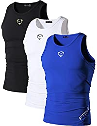 jeansian Homme De Sport Outdoor Sportswear 3 Packs Quick Dry Compression Tank Tops Vests Shirt LSL3306