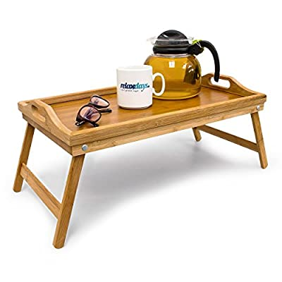 Relaxdays Bamboo Bed Tray, Size: 21.5 x 47 x 27 cm Knee Table with Handles as Bed Table and Side Table with Folding Legs Serving Tray for Breakfast in Bed, Easy to Clean, Natural Brown - inexpensive UK light store.