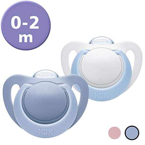 NUK Genius Silikon-Schnuller, für zarte Neugeborene, 0-2 Monate, Blau (Boy), 2 Stück