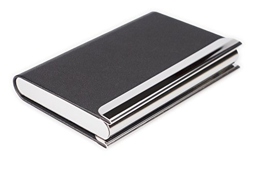 Preisvergleich Produktbild Visitenkartenetui Etui Kreditkartenetui RFID-Schutzhülle Chip RFID-Blocking Leder Schwarz Metall Visitenkartenbox Edelstahl Kreditkartenbox Kreditkarten