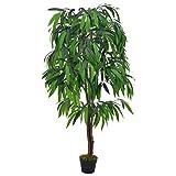 Festnight- Kunstpflanze Künstliche Mangobaum mit Topf, Kunstbaum Kunstblume Deko Zimmerpflanze künstlich - Grün 140 cm