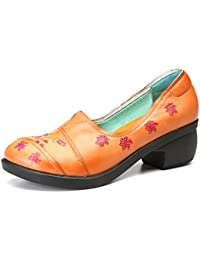 gracosy Mocasines Zapatos para Mujer de Cuero Calzado Tacón Medio de cuña de Punta Redonda Hechas